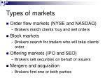 types of markets