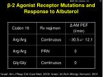 2 agonist receptor mutations and response to albuterol1