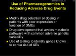 use of pharmacogenomics in reducing adverse drug events