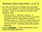 business vision document 2 of 2