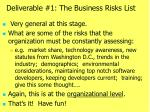 deliverable 1 the business risks list