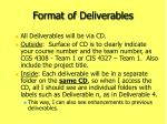 format of deliverables