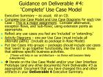 guidance on deliverable 4 complete use case model