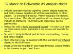 guidance on deliverable 5 analysis model