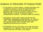 guidance on deliverable 5 analysis model2