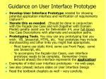 guidance on user interface prototype