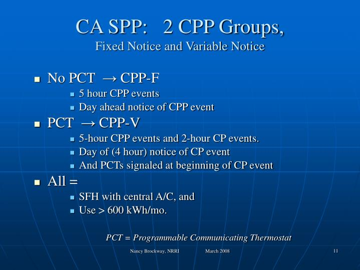 CA SPP:   2 CPP Groups,