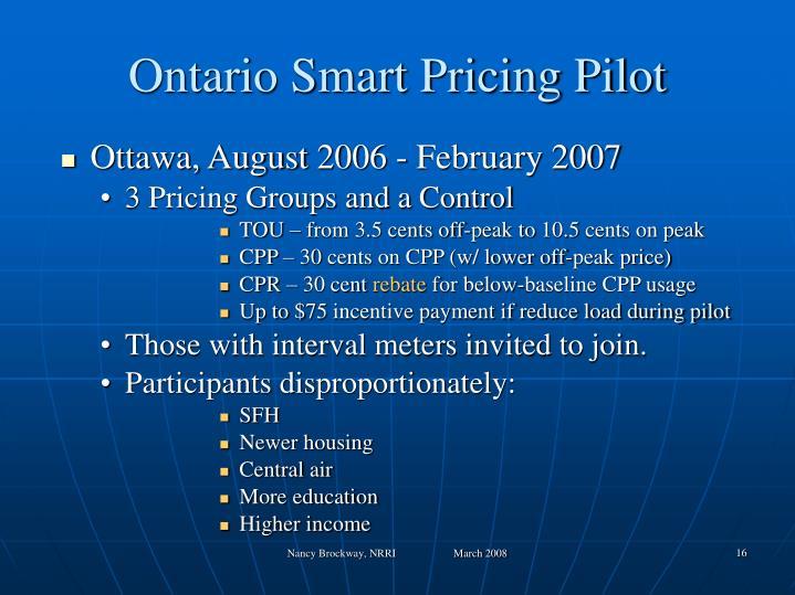Ontario Smart Pricing Pilot