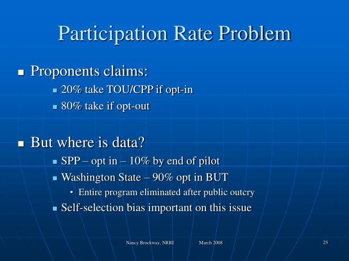Participation Rate Problem