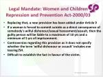 legal mandate women and children repression and prevention act 2000 03