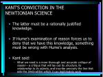 kant s conviction in the newtionian science