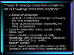 though knowledge comes from experience not all knowledge arises from experience