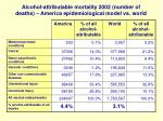 alcohol attributable mortality 2002 number of deaths america epidemiological model vs world