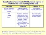 classification of countries in who european regions by childhood and adult mortality who 2000