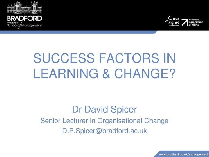success factors in learning change n.
