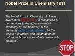 nobel prize in chemistry 1911