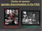 victim of sexism gender discrimination in the fas