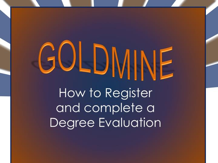 how to register and complete a degree evaluation n.