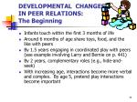developmental changes in peer relations the beginning
