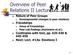 overview of peer relations ii lecture