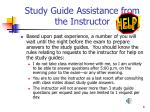 study guide assistance from the instructor