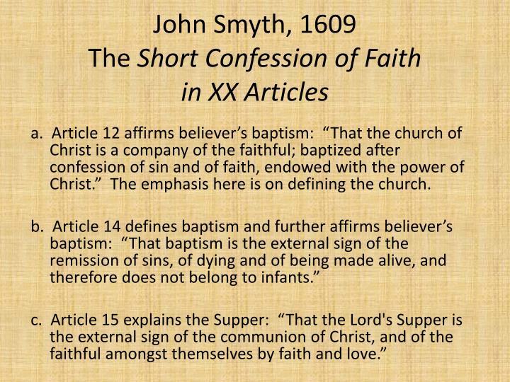 John Smyth, 1609