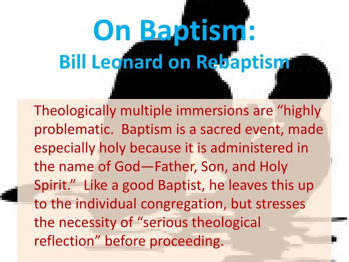 On Baptism: