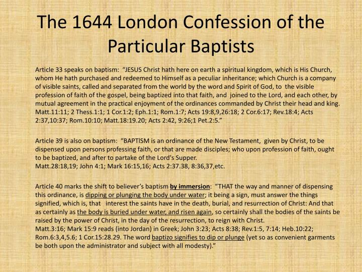 The 1644 London Confession of the Particular Baptists