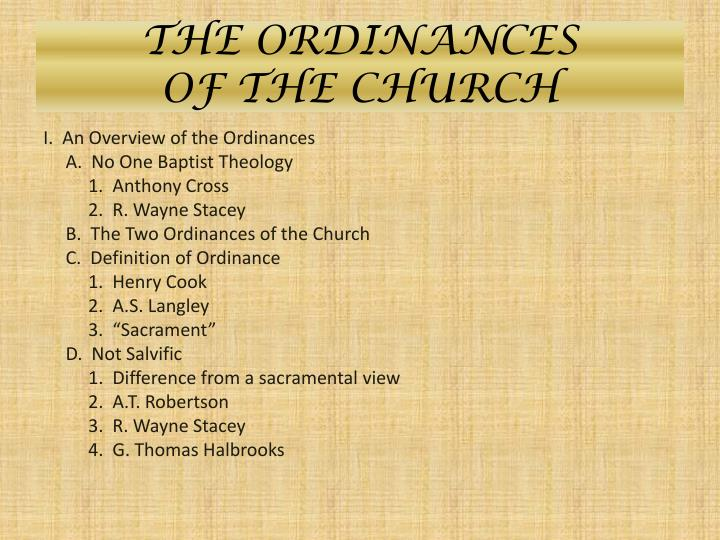 The ordinances of the church1