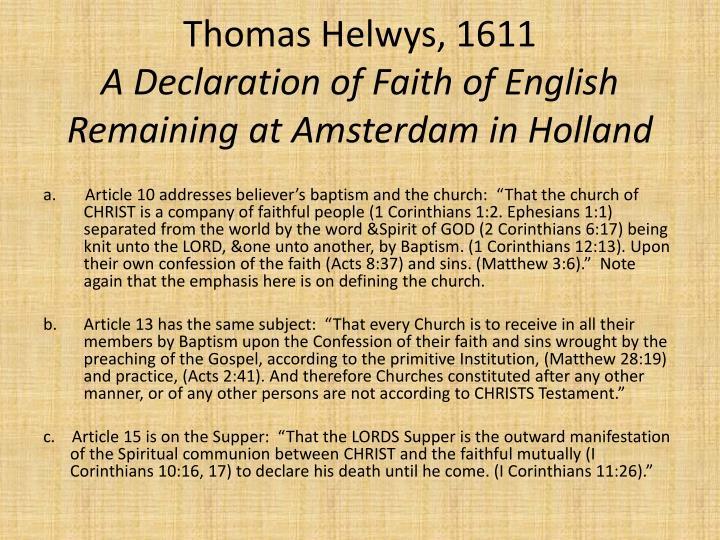 Thomas Helwys, 1611