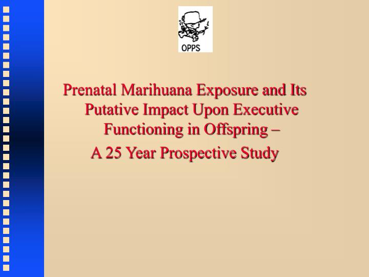 Prenatal Marihuana Exposure and Its Putative Impact Upon Executive Functioning in Offspring –