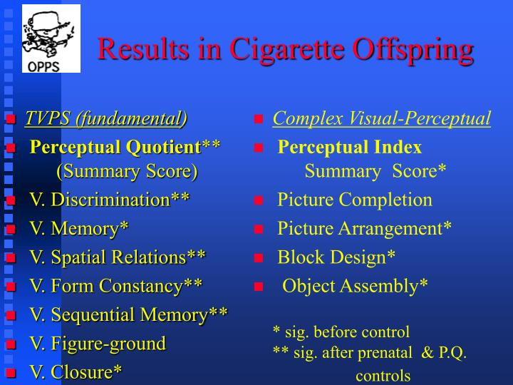 Results in Cigarette Offspring