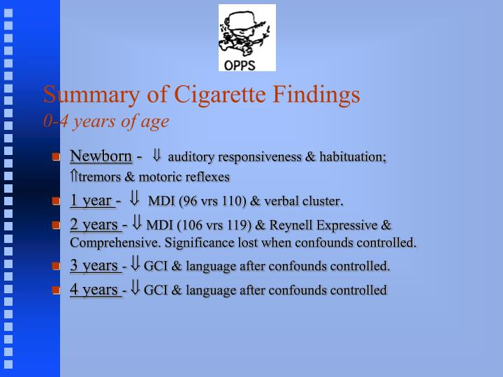 Summary of Cigarette Findings