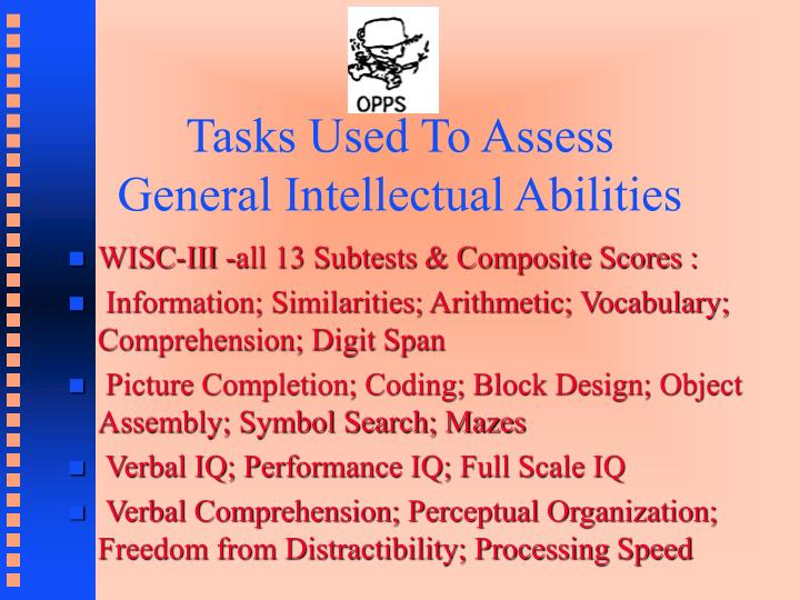 Tasks Used To Assess