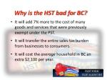 why is the hst bad for bc