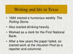 writing and life in texas