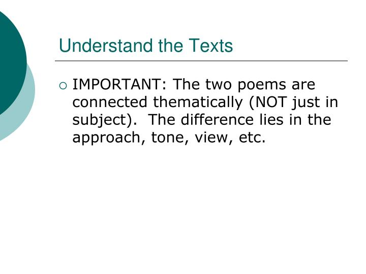Understand the texts