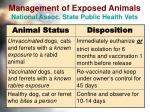 management of exposed animals national assoc state public health vets