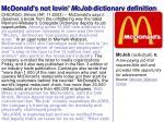 mcdonald s not lovin mcjob dictionary definition