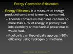 energy conversion efficiencies