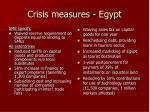 crisis measures egypt