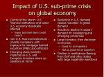 impact of u s sub prime crisis on global economy