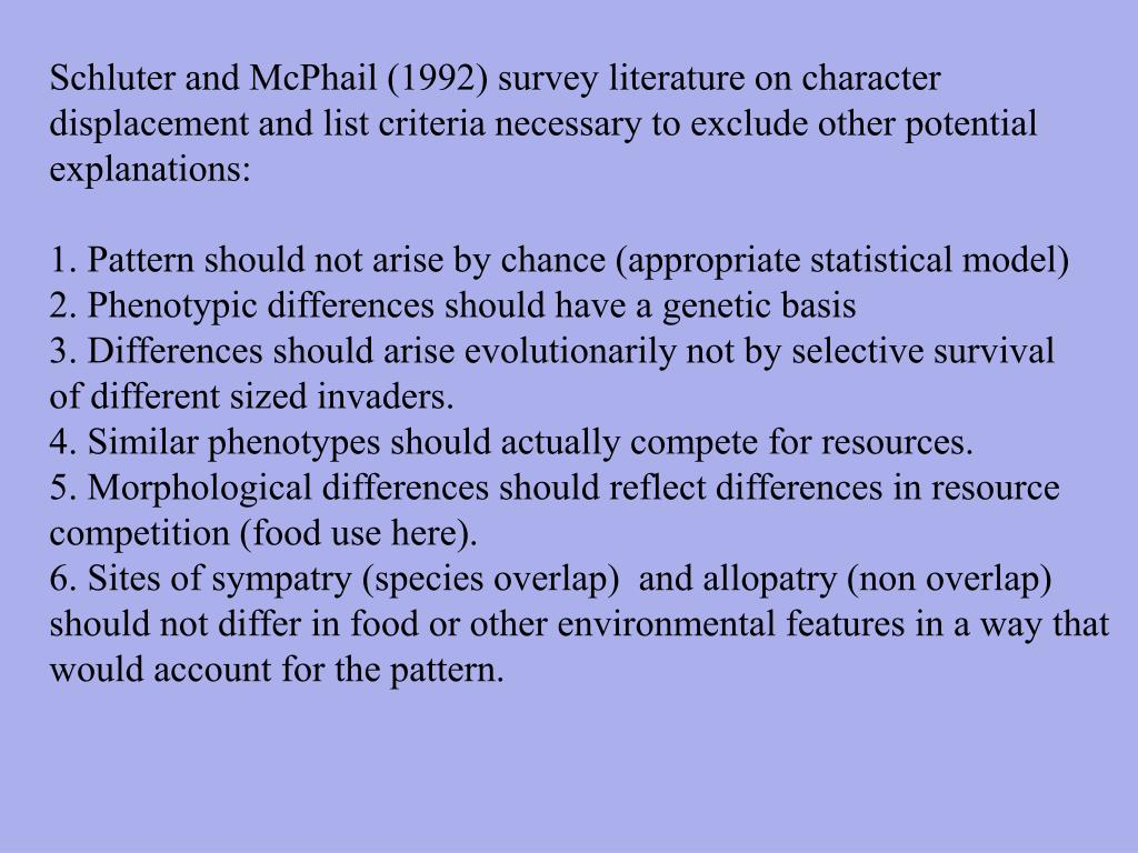 Schluter and McPhail (1992) survey literature on character