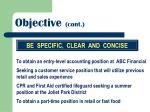 objective cont