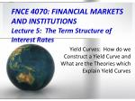 fnce 4070 financial markets and institutions lecture 5 the term structure of interest rates