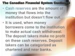 the canadian financial system continued