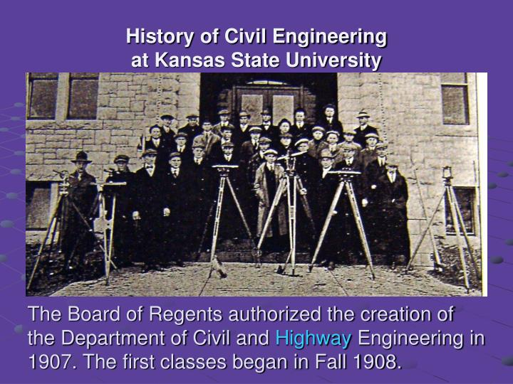 History of civil engineering at kansas state university