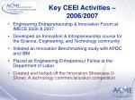 key ceei activities 2006 2007