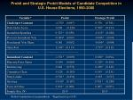 probit and strategic probit models of candidate competition in u s house elections 1990 2000