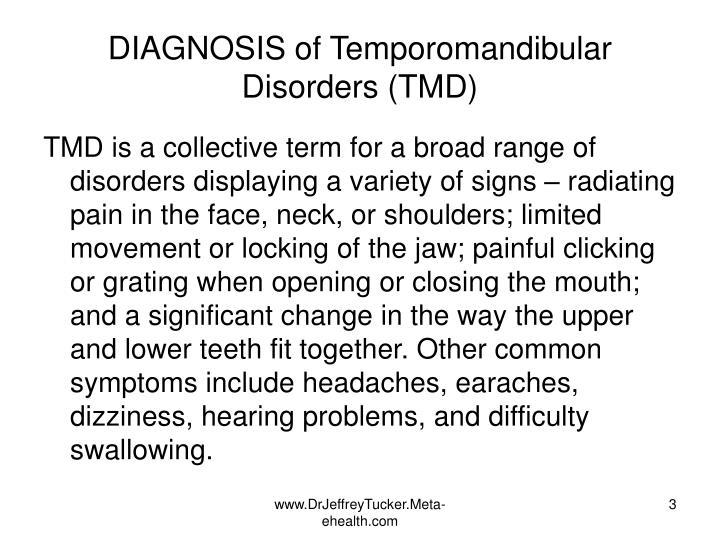 Diagnosis of temporomandibular disorders tmd